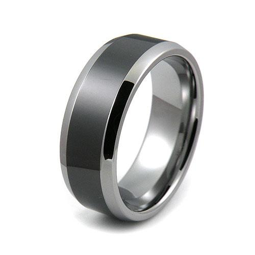 Tungsten 8mm beveled edge ceramic center comfort fit wedding bands