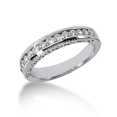 Clearance 14K White Gold 4mm 0.42 carat  diamond wedding bands (sz 5.5)
