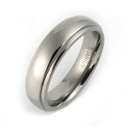 Titanium 6mm half round edge comfort fit wedding bands