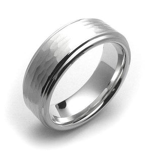 White tungsten 8mm fancy design hammered center comfort fit wedding bands