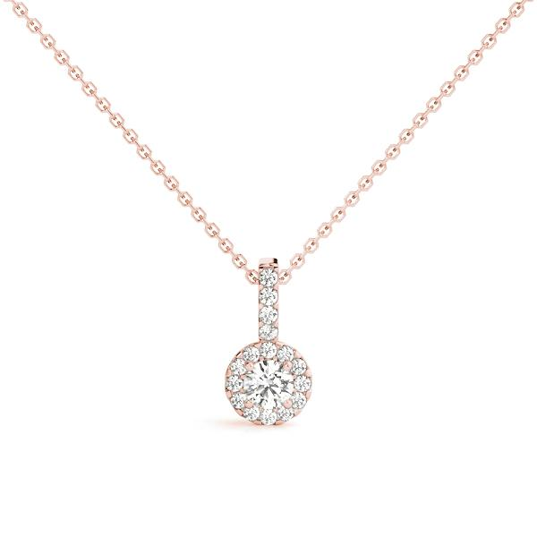 14K Rose gold cushion halo 1/6 ct diamond pendant