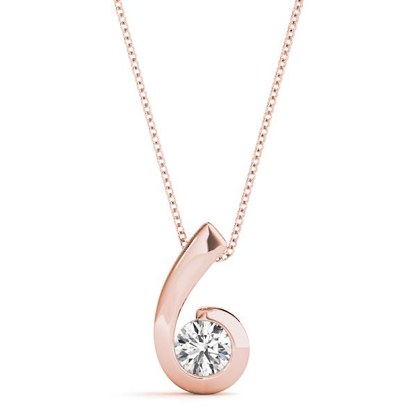 14K Rose gold solitaires 3/8 ct diamond pendant