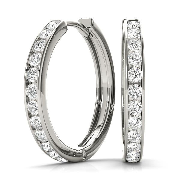 14K White gold hoop 1 ct bordered diamond earrings