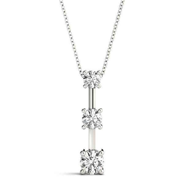 14K White gold three stone bar 1/2 ct diamond pendant