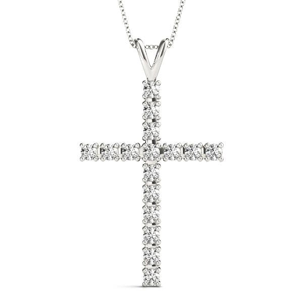 14K White gold cross 1/2 ct diamond pendant