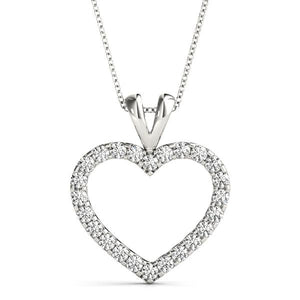 14K White gold rounded heart 1/2 ct diamond pendant