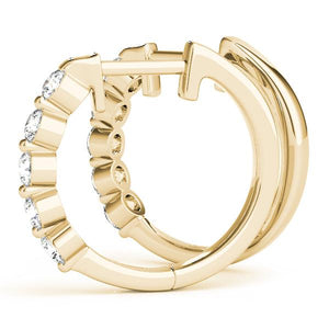 14K yellow gold hoop 1/2 ct diamond earrings