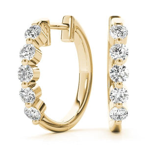 14K Yellow gold hoop 1/4 ct diamond earrings