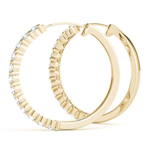 14K Yellow gold standard hoop 1/4 ct diamond earrings