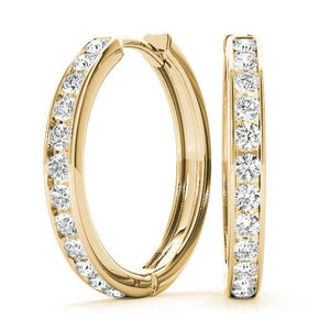 14K Yellow gold hoop 1 ct bordered diamond earrings