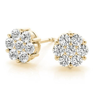 14K Yellow gold cluster 1/2 ct diamond earrings