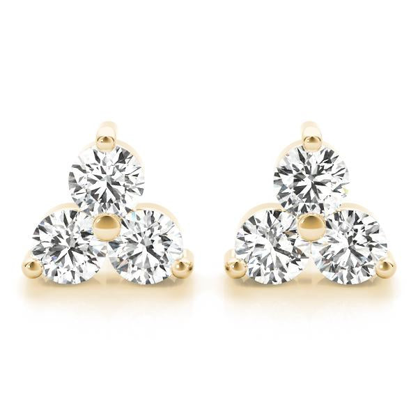 14K Yellow gold triangular 1 ct diamond earrings