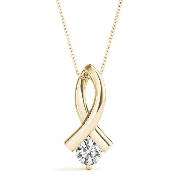 14K Yellow gold loop 1/3 ct diamond pendant