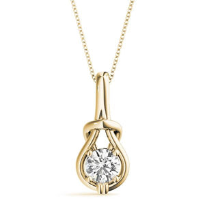14K Yellow gold love knot 1/2 ct diamond pendant