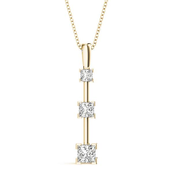 14K Yellow gold three stone 3/8 ct diamond pendant