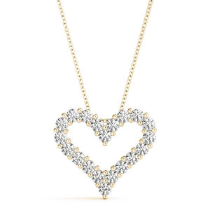14K Yellow gold heart 1/2 ct diamond pendant