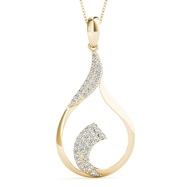 14K Yellow gold teardrop 1/3 ct diamond pendant