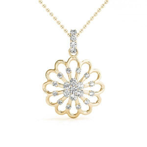 14K Yellow gold nature 1/4 ct diamond pendant