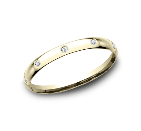 Clearance  14K Yellow gold 2mm   women's 0.1 carats diamond (10 diamonds)  wedding bands. (size 7)