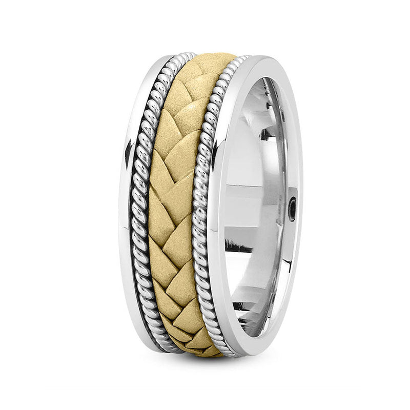 18K Two Tone Gold (Yellow Center) 8mm hand made comfort fit wedding bands with flat braided and rope design