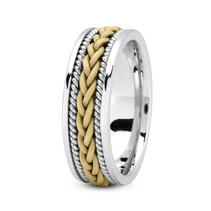 18K Two Tone Gold (Yellow Center) 7mm hand made comfort fit wedding bands with braided and rope design