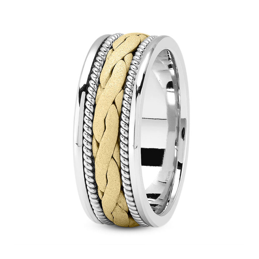 18K Two Tone Gold (Yellow Center) 8mm hand made comfort fit wedding bands with wide braided and rope design