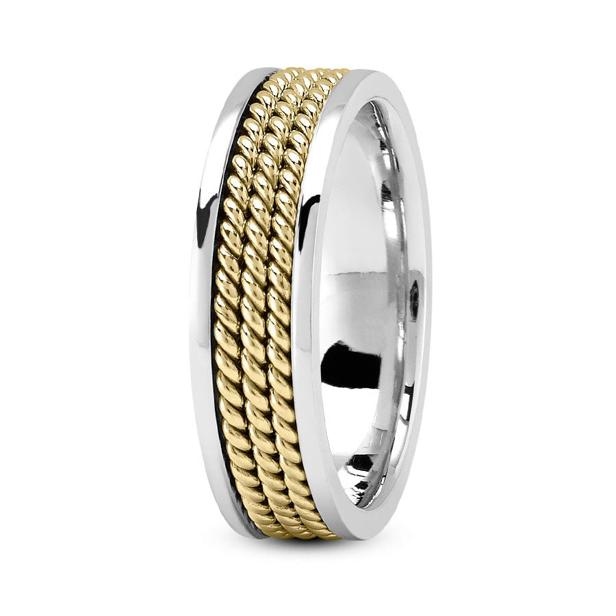 18K Two Tone Gold (Yellow Center) 6mm hand made comfort fit wedding bands with three ropes design