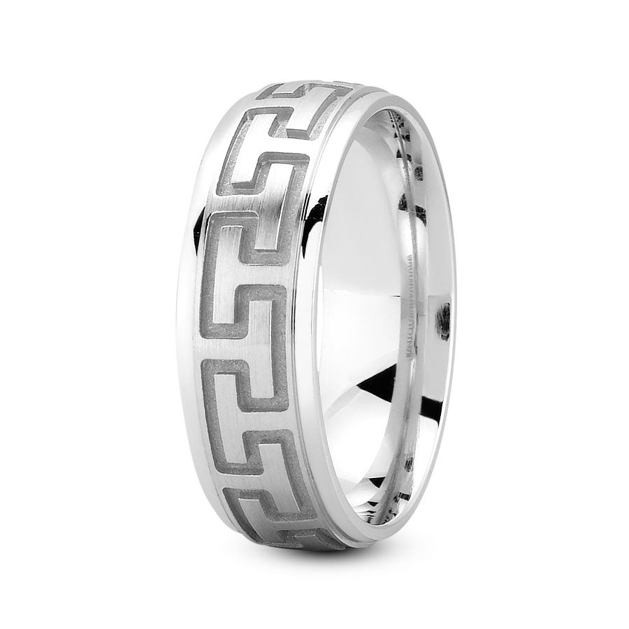Platinum 7mm fancy design comfort fit wedding bands with greek design