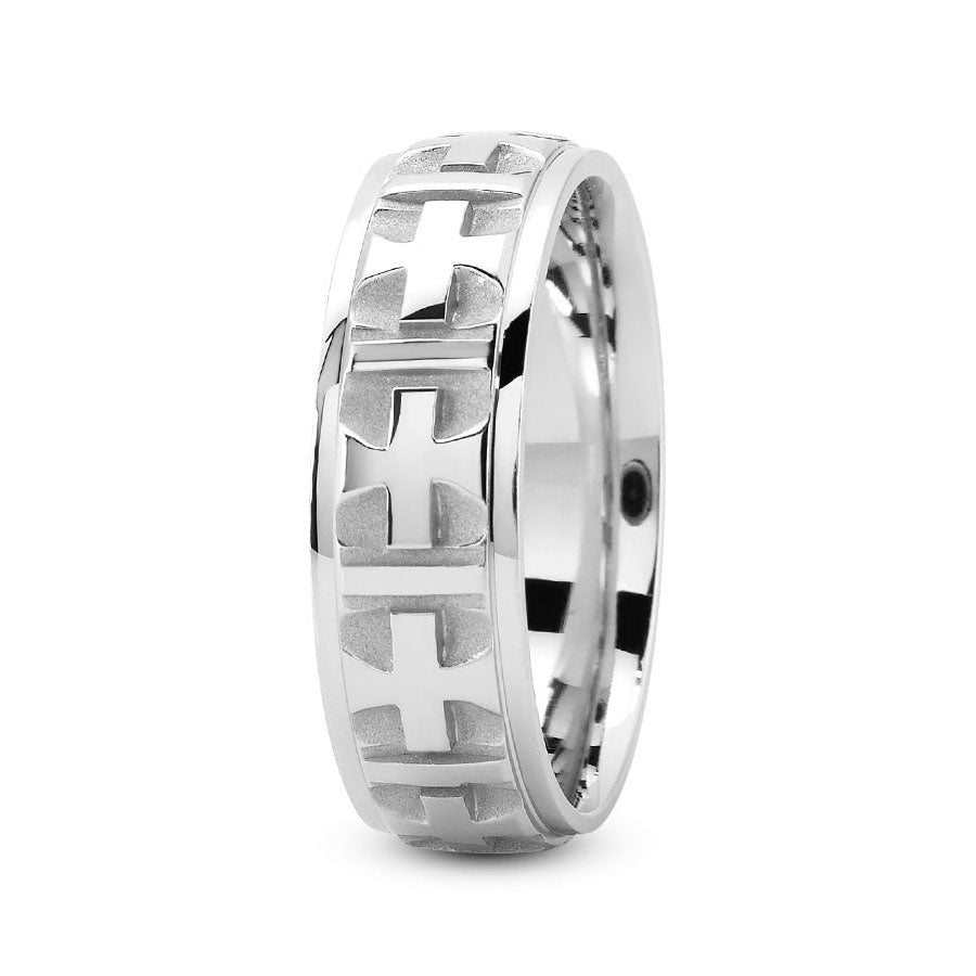Platinum 7mm fancy design comfort fit wedding bands with cross center design