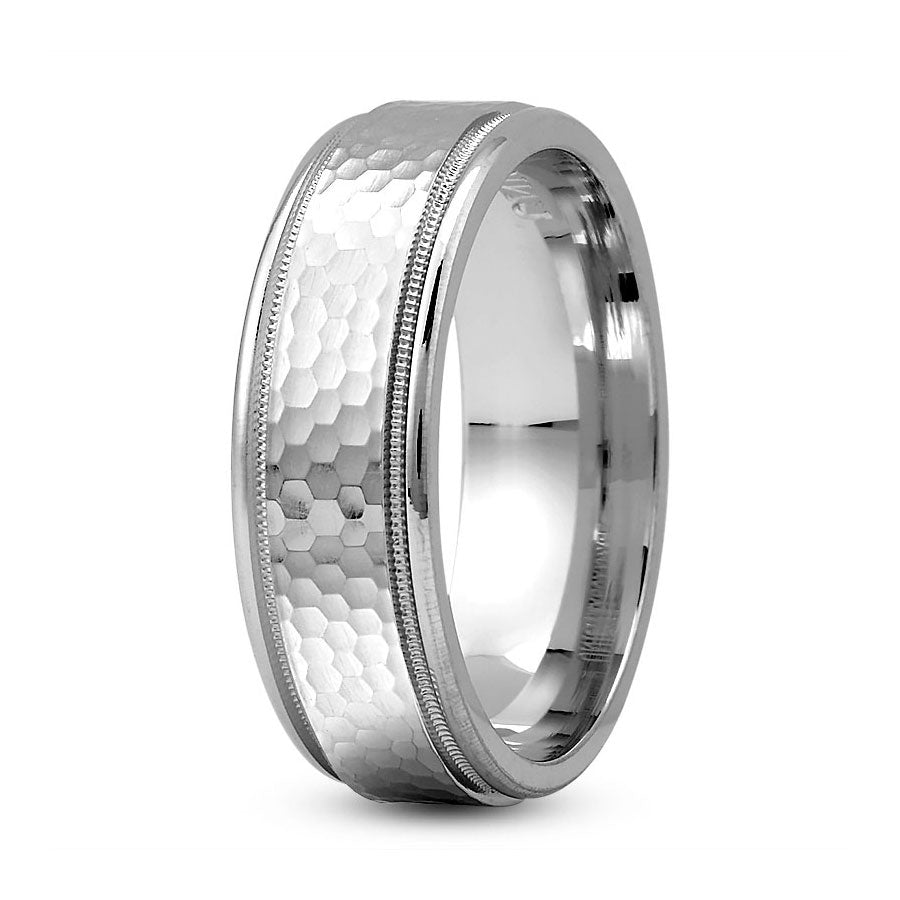 Platinum 7mm hand made comfort fit wedding bands with tiny hammered and milgrain design