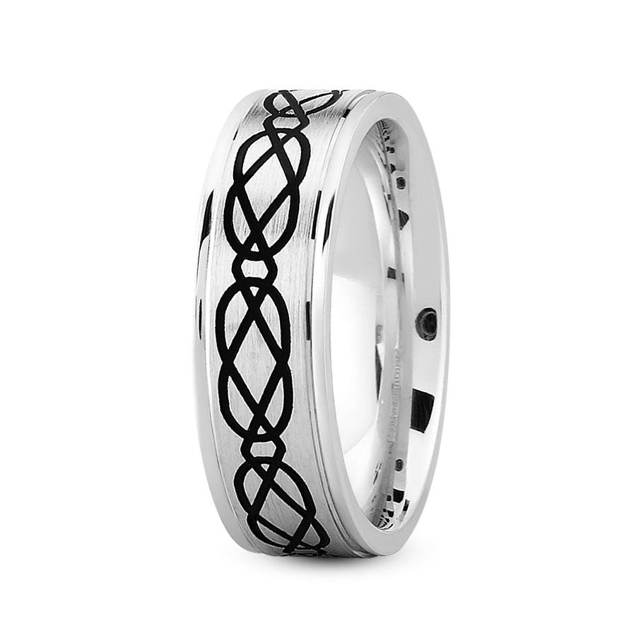 Platinum 7mm fancy design comfort fit wedding bands with linked pattern design