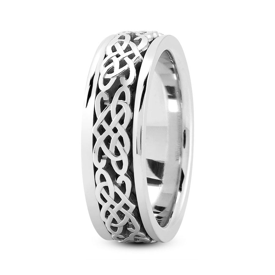 Platinum 8mm fancy design comfort fit wedding bands with fancy celtic design