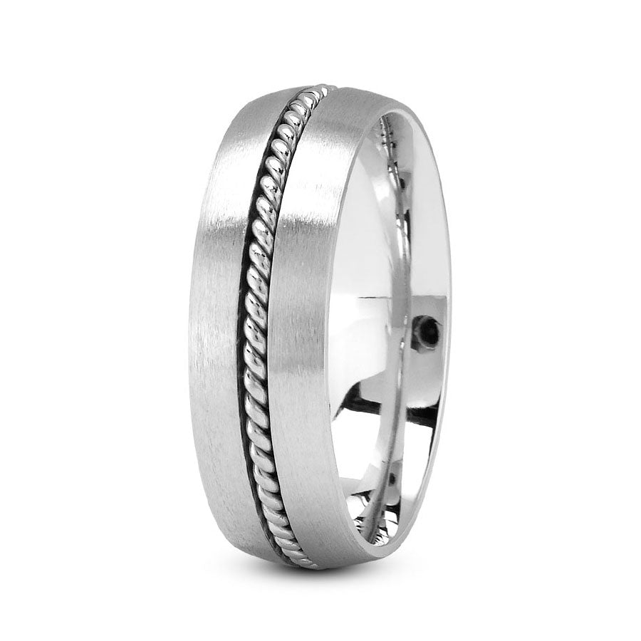 Platinum 7mm fancy design comfort fit wedding bands with center rope design