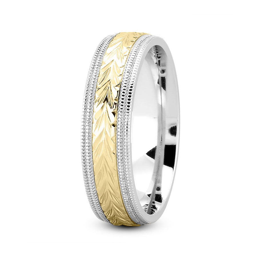 18K Two Tone Gold (Yellow Center) 7mm hand made comfort fit wedding bands with harringbone and milgrain design