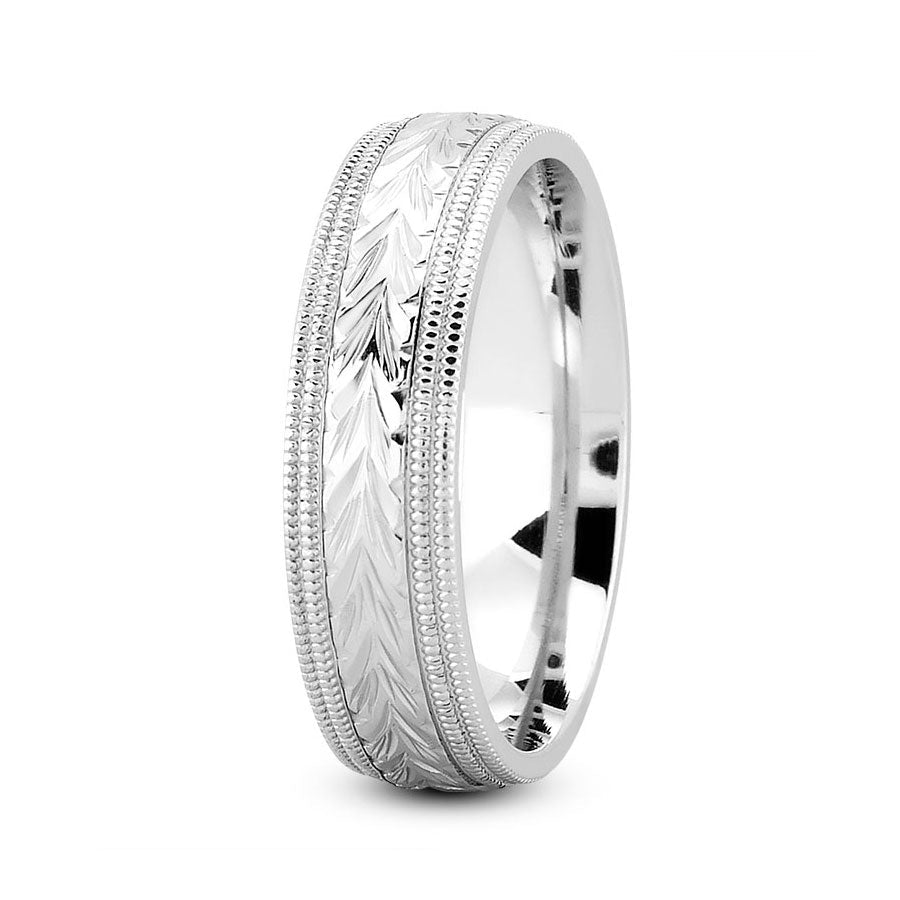 Platinum 7mm hand made comfort fit wedding bands with harringbone and milgrain design