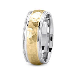 18K Two Tone Gold (Yellow Center) 7mm hand made comfort fit wedding bands with wide hammered and milgrain design