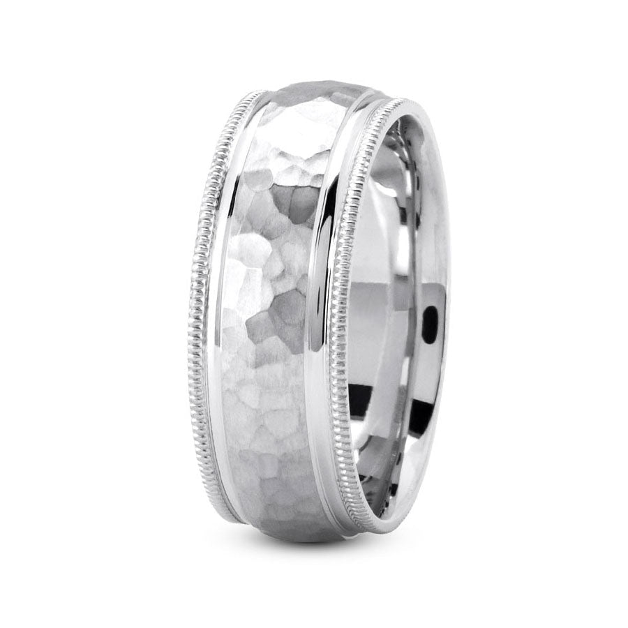 Platinum 7mm hand made comfort fit wedding bands with wide hammered and milgrain design
