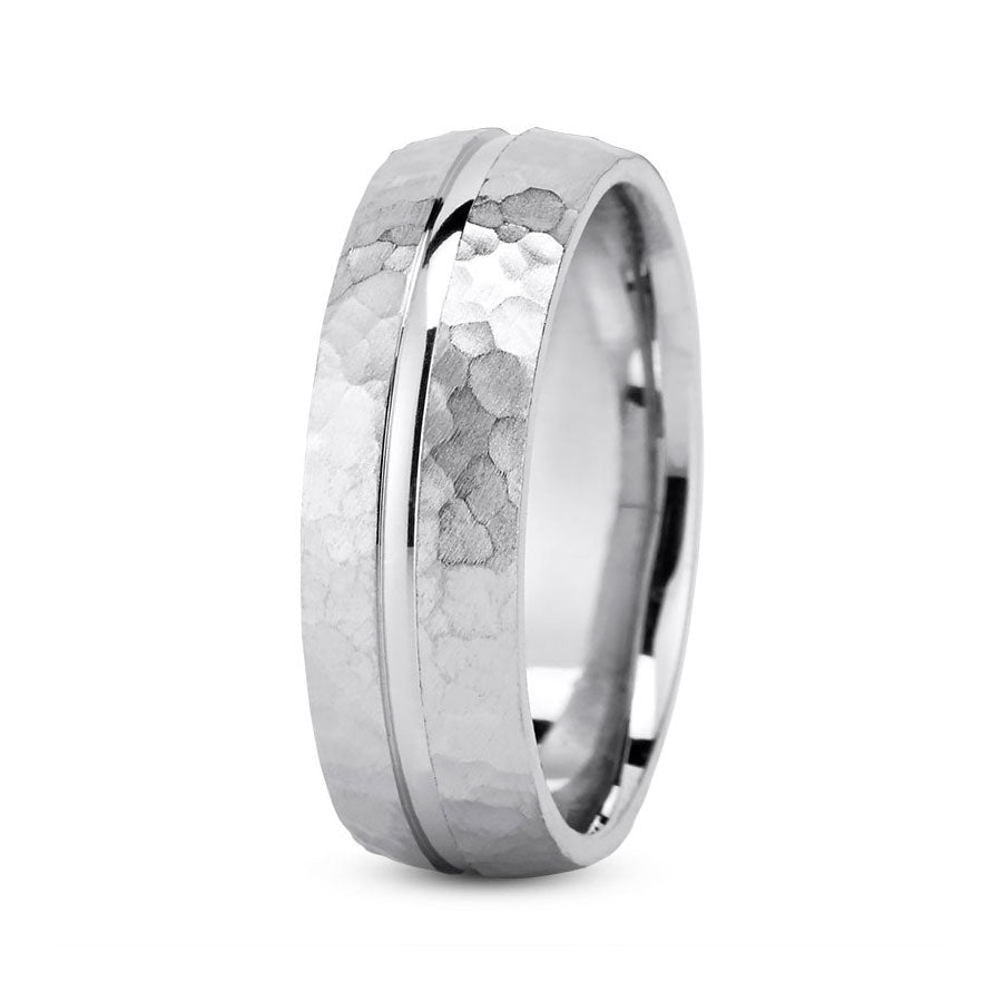 Platinum 7mm hand made comfort fit wedding bands with center grooved and hammered design