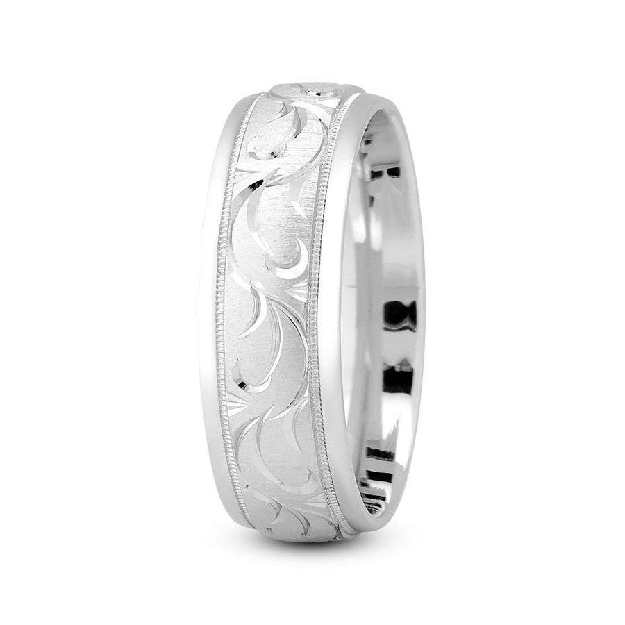 Platinum 7mm fancy design comfort fit wedding bands with paisley cut and milgrain design