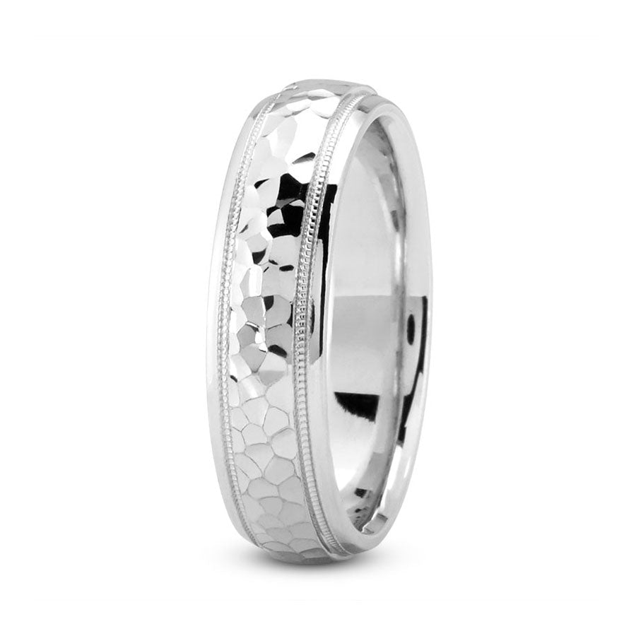 Platinum 6mm hand made comfort fit wedding bands with hammered and milgrain design