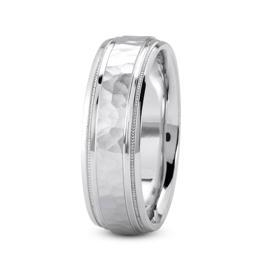 Platinum 7mm hand made comfort fit wedding bands with hammered center and milgrain edges
