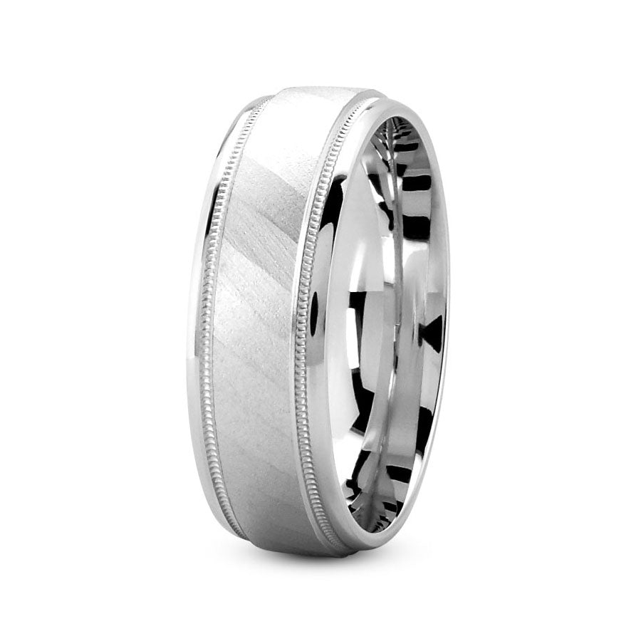 Platinum 7mm fancy design comfort fit wedding bands with diagonal pattern and milgrain design