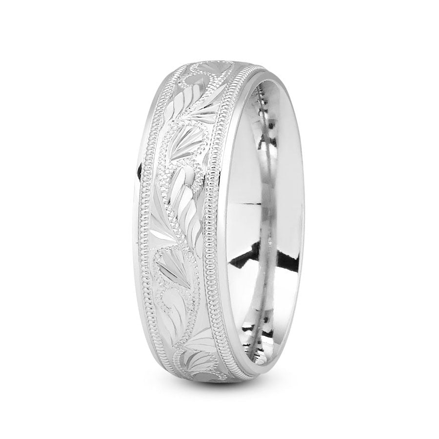 Platinum 7mm fancy design comfort fit wedding bands with leaf and milgrain design