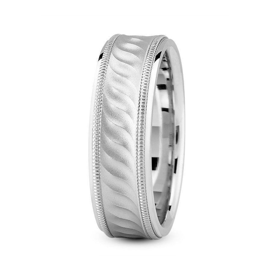 Platinum 7mm fancy design comfort fit wedding bands with wave and milgrain design