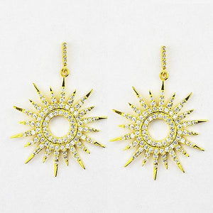 Sterling silver gold tone sun dial earrings