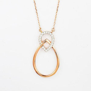 Steling silver two tone double teardrop necklace