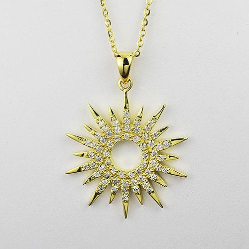 Sterling silver gold tone Sun Dial Design necklace