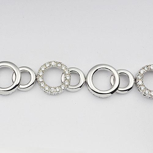 Sterling silver alternating plain and clear CZ bracelet