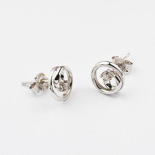 Sterling silver open mini looped circle earring set