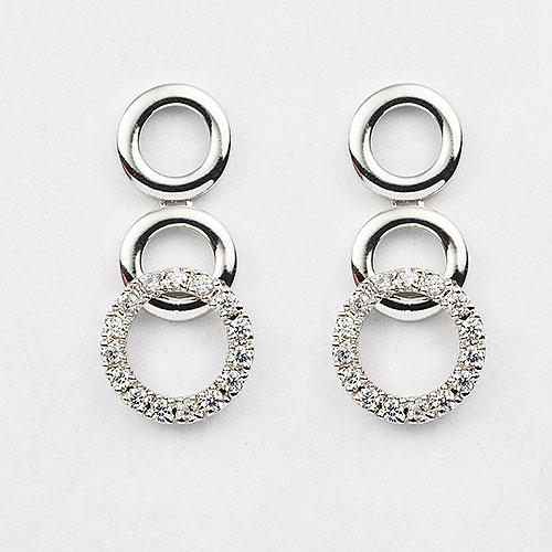 Sterling silver alternating plain and clear CZ Circles earring set